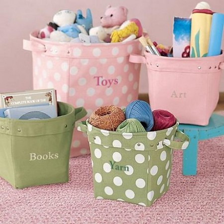 Childrens room storage bins