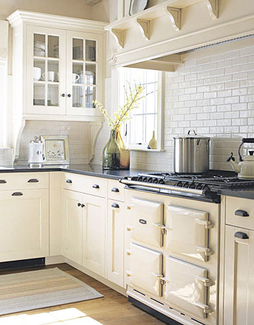 Cream Kitchen Units With Black Worktops