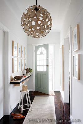 entryway-shelf-with-cubbie-storage-chandelier