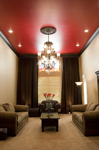 Red Living Room with Ceiling