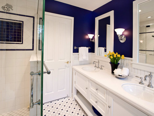 Bathroom personality Navy blue and white bathroom