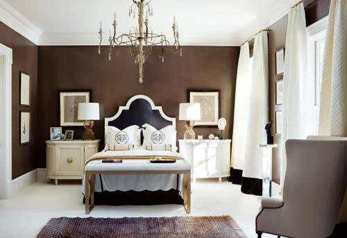 Color inspiration chocolate brown white Dark brown walls bedroom