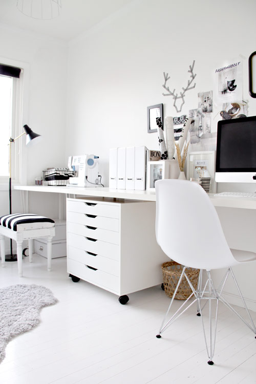 Black white home office - Bureau ikea noir et blanc ...