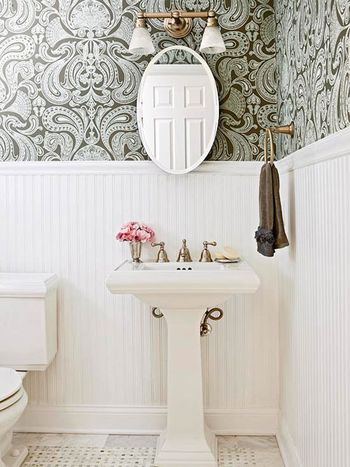Wallpaper in the bathroom for Bathroom wallpaper designs