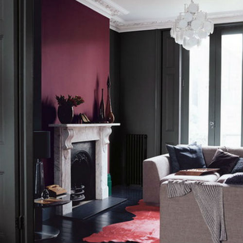 Maroon Grey And White Living Room: Color+inspiration: Burgundy