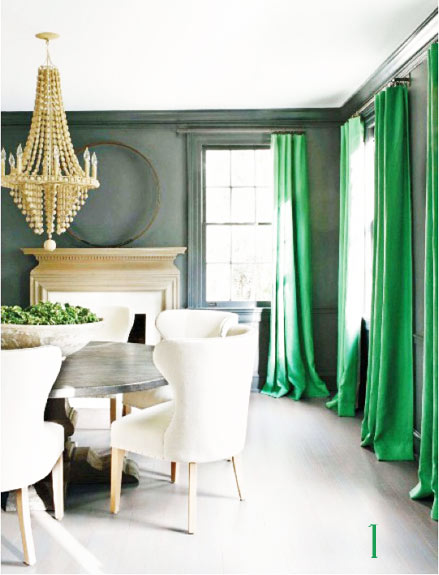 The Same Room Shot From Diffe Corners No Saturated Emerald Of Curtains Are Perfect Match For Armchair To Me This Is One